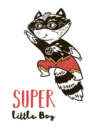 Super little boy. Little raccoon in superheroes costume. Hand drawn animal print. Super Hero greeting card
