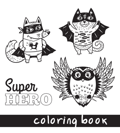 Black and white vector illustration. Hand drawn fox, cat and owl in superheroes costume. Coloring book page with cartoon comic animals Stock Photo