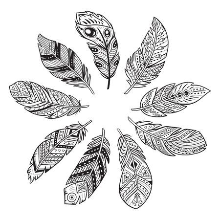 Plumas Indias Americanas Nativas En Colores Blanco Y Negro. Para ...