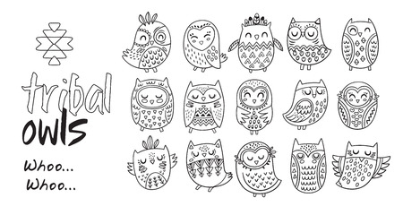 Black and white vector illustration. Outline indian owl characters with hand drawn ornaments. Coloring book page.