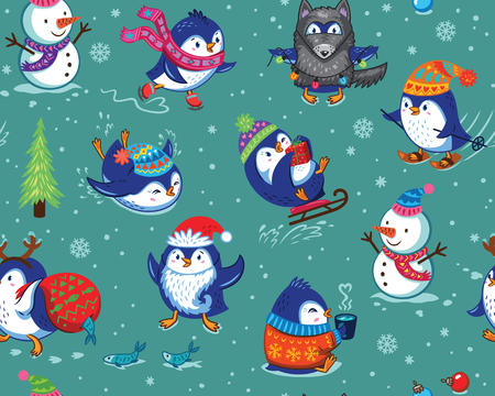 Cute Christmas seamless pattern with skating penguins, snowmans and snowflakes. Funny cartoon penguin print for christmas background, wallpaper, gift wrap, fabric. Vector illustration Stock Illustratie