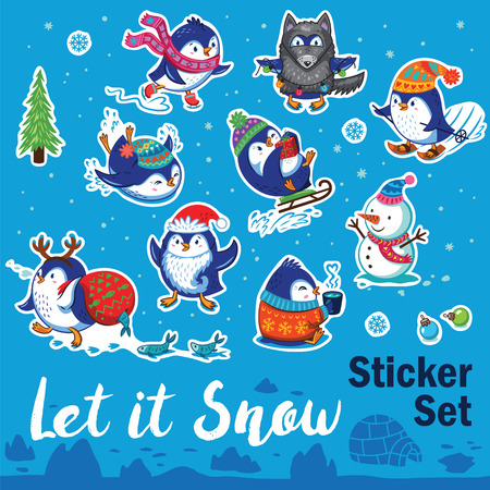 Let it snow. Set of Merry Christmas and Happy New Year stickers or magnets. Cartoon penguins ice-skating, sledding, skiing, drink tea and pretend to be wolf. Vector illustration Illustration