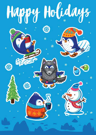 magnets: Happy Holidays. Set of Merry Christmas and Happy New Year stickers or magnets. Cartoon Penguin sledding, skiing, dressed in a wolf costume. Vector illustration Illustration