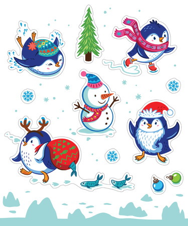 magnets: Set of Merry Christmas and Happy New Year stickers or magnets. Cartoon Penguin skating, slides, carries a fish in a bag, put on Santas beard. Vector illustration Illustration