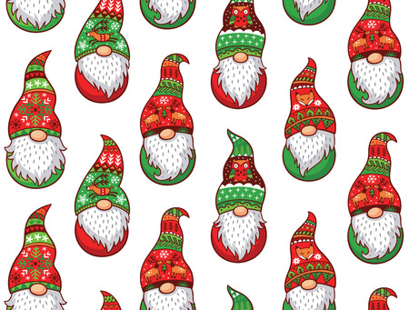 Christmas gnomes in red and green hat with different ornaments isolated on white background. Vector seamless pattern of Scandinavian christmas traditional gnomes