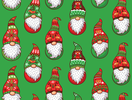 gnomos: Christmas gnomes in red and green hat with different ornaments isolated on green background. Vector seamless pattern of Scandinavian christmas traditional gnomes Vectores