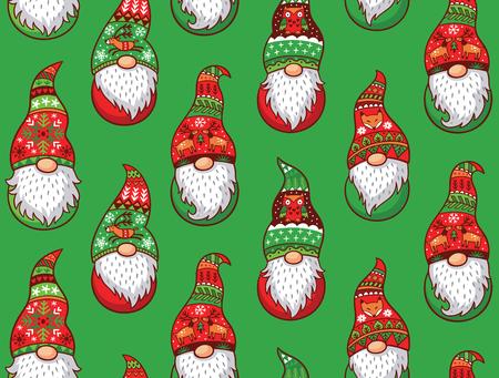 Navidad Gnomos en el sombrero rojo y verde con diferentes adornos aislados sobre fondo verde. Vector sin patrón de gnomos tradicionales escandinavos de la Navidad