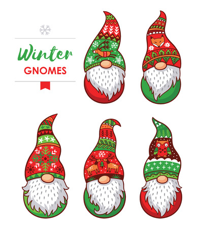 Trolls gnomes with white beards and long red and green hats. Funny characters for Christmas. Vector set