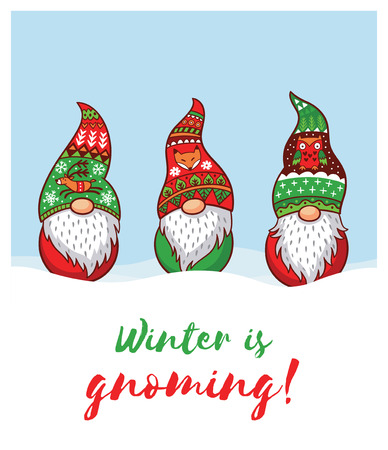Winter is Gnoming. Happy Holidays card with trolls gnomes. Cute cartoon vector illustration. Christmas characters Illustration