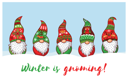 Winter is Gnoming. Happy Holidays card with five trolls gnomes. Cute cartoon vector illustration. Christmas characters