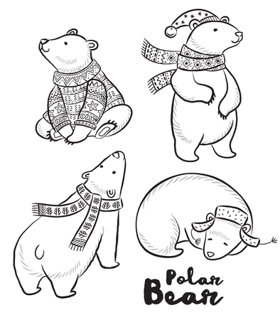 white winter: Outline set of Polar bears in sweater, scarf and hat with ornaments. Cute characters for Christmas. Vector set. Coloring book page