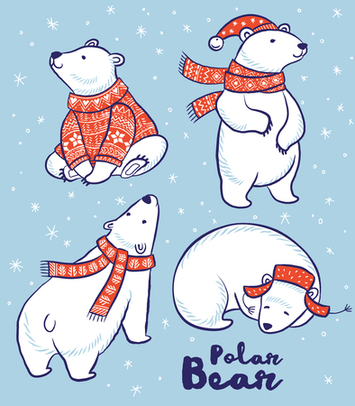 かわいい手描きのホッキョクグマは、赤いセーター、スカーフ、帽子で設定します。ベクトル図