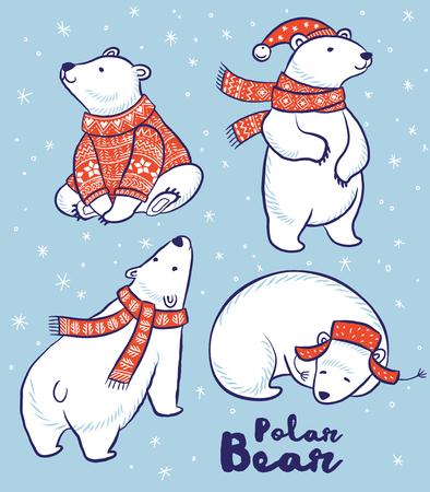 Leuke hand getrokken ijsbeer set in de rode trui, sjaal en muts. vector illustratie Stock Illustratie
