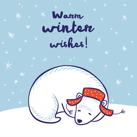 Warm winter wishes card. White sleeping polar bear in red hat. Vector illustration