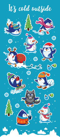 magnets: It is cold outside. Set of Merry Christmas and Happy New Year stickers or magnets. Cartoon penguins ice-skating, sledding, skiing, drink tea and pretend to be wolf. Vector illustration