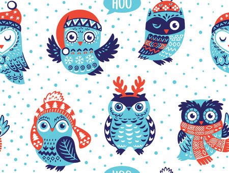 Christmas seamless pattern with cute owls in knitted hats, scarves and reindeer antlers. Vector illustration