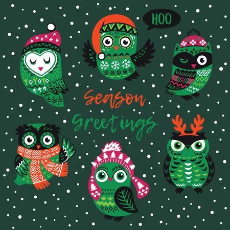 Season Greetings card. Hand drawn winter owls in knitted hats, scarves and reindeer antlers. Vector illustration in green and red colors