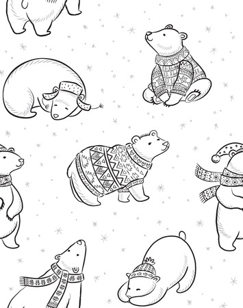 Black and white Christmas seamless pattern with polar bears in sweater, scarf and hat. Cartoon style. Coloring book page. Christmas vector seamless pattern with polar bears in red sweater, scarf and hat. 向量圖像