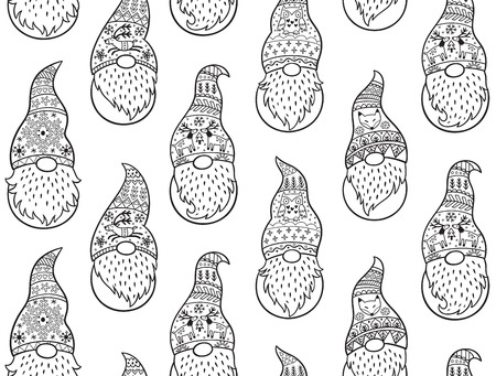 Black and white Christmas seamless pattern with gnomes in long caps. Vector seamless pattern of Scandinavian christmas traditional gnomes Illustration
