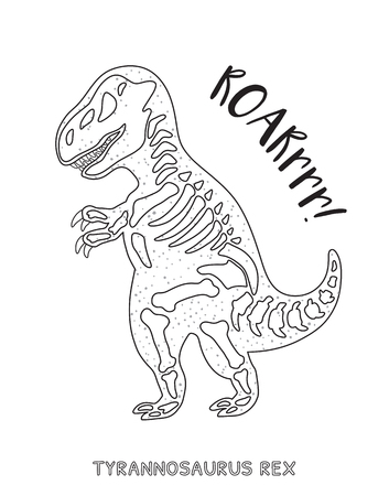 large skull: Tyrannosaurus Rex skeleton outline drawing. Fossil of a T-rex dinosaur skeleton. Coloring book page Illustration