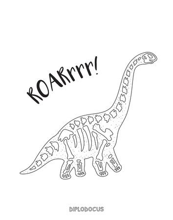 large skull: Diplodocus skeleton outline drawing. Fossil of a diplodocus dinosaur skeleton. Coloring book page