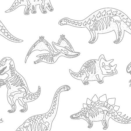 large skull: Black and white hand drawn fossil dinosaurs seamless pattern
