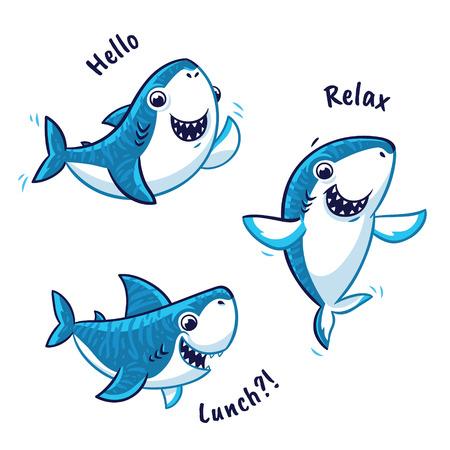Set of blue shark cartoon character isolated on white background