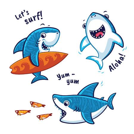 白い背景で隔離の青鮫の漫画のキャラクターのセット  イラスト・ベクター素材