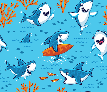 Underwater world with funny sharks background Vectores