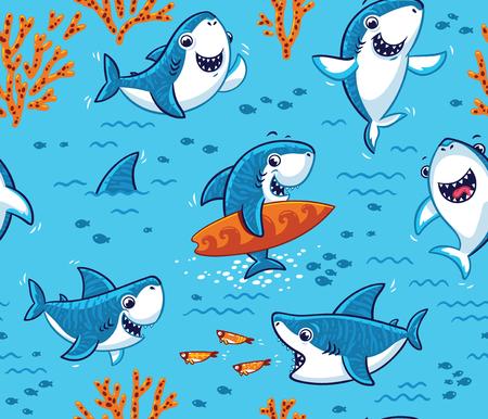 Onderwater wereld met grappige haaienachtergrond Stock Illustratie