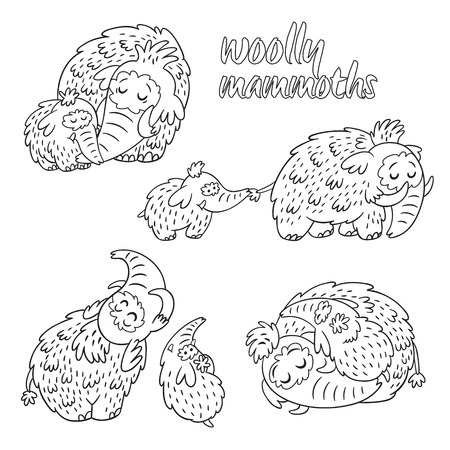 wolly: Hand drawn wolly mammoth with baby collection in outline. Illustration