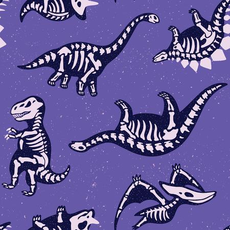 Adorable szwu bez szwu dinozaurów w stylu cartoon Ilustracje wektorowe
