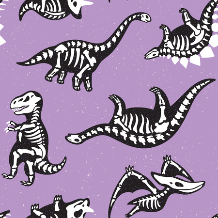 Adorable seamless pattern with funny dinosaur skeletons in cartoon style Illustration
