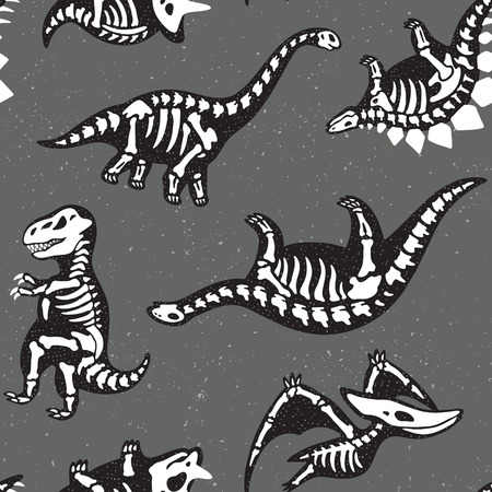 arthropod: Adorable seamless pattern with funny dinosaur skeletons in cartoon style Illustration