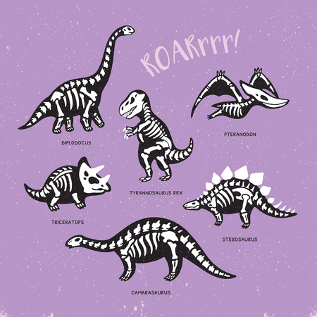 Funny sketchy fossil dinosaurs print with text Roar. Cartoon fossil dinosaurs card. Vector illustration Illustration