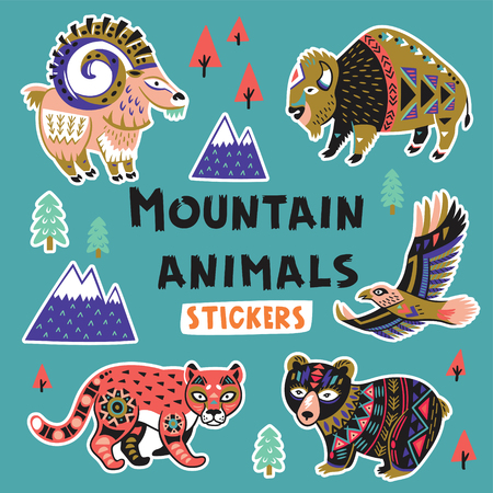Sticker set with mountain animals Illustration