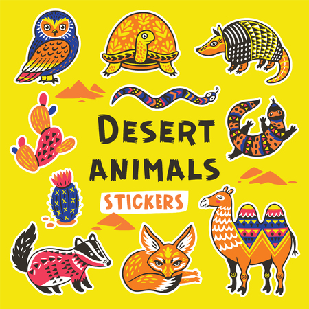 Sticker set with desert animals