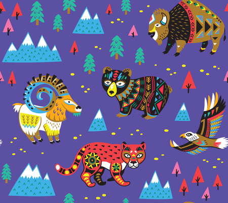 Pattern with mountain animals Illustration