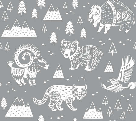 Pattern with mountain animals in monochrome style Illustration