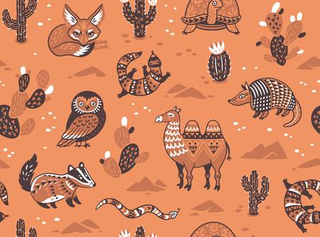 Patroon met woestijndieren Stock Illustratie