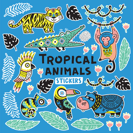 Sticker set with tropical animals