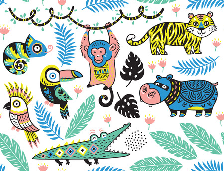 kids fun: Seamless pattern with tropical animals