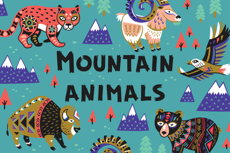 Set of mountain animals