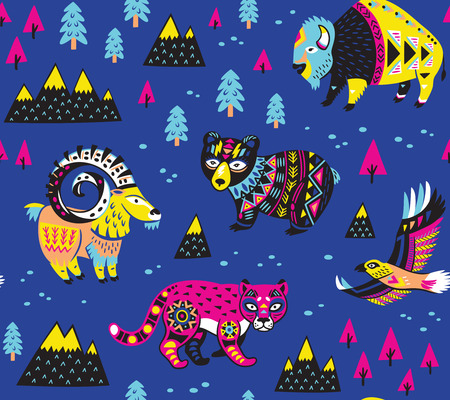 Seamless pattern with mountain animals
