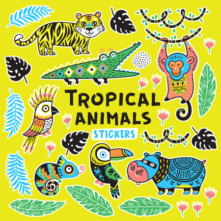 Collection of stickers with tropical animals with ethnic, tribal ornaments.