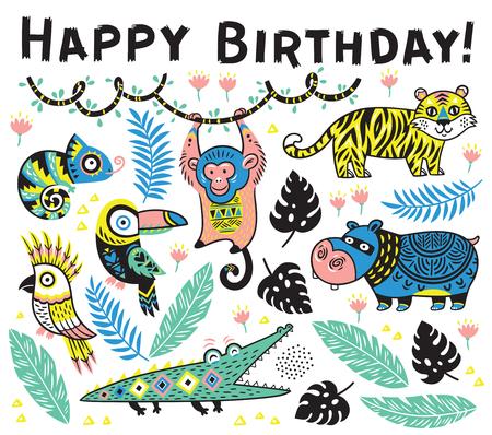 ジャングルの中での漫画の動物のかわいいお誕生日おめでとうカード