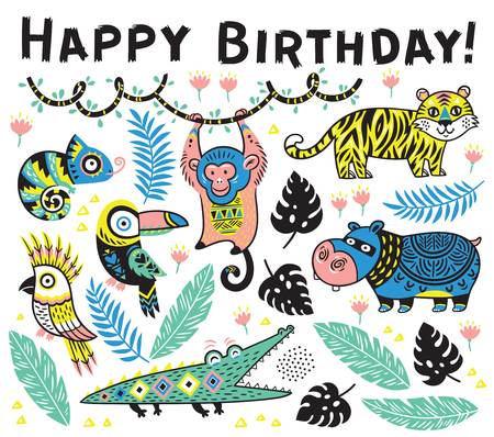 Cute happy birthday card with cartoon animals in the jungle