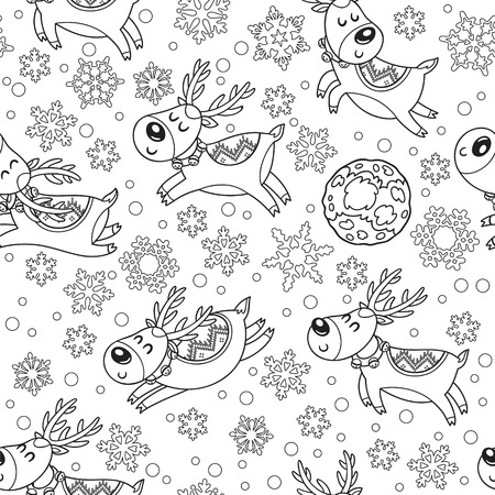 Black and white seamless pattern with outline Christmas deers. Vector illustration in cartoon style for children coloring pages. Happy deers flying across the sky near the moon