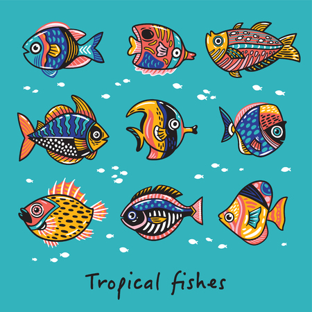 fishes: Set of tropical fishes.
