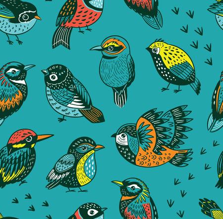 Hand drawn tropical bird pattern
